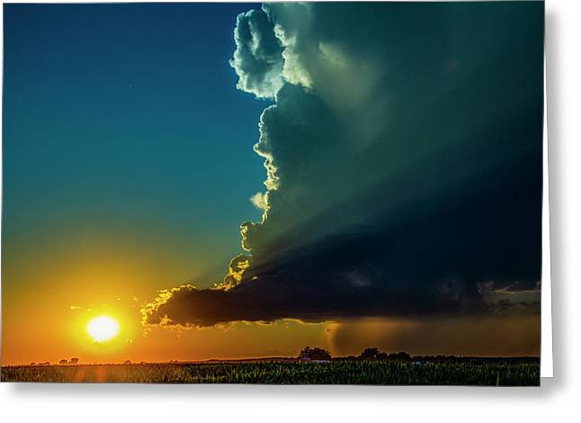 Dying Nebraska Thunderstorms At Sunset 068 Greeting Card
