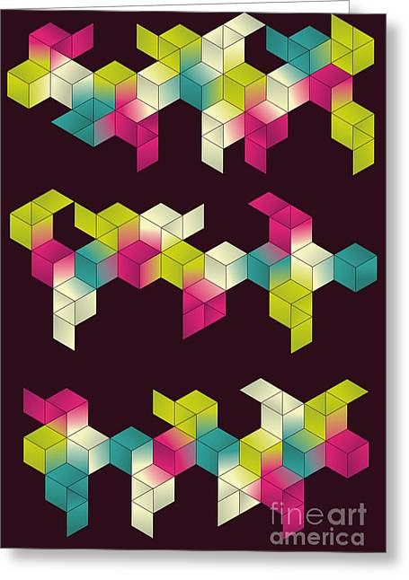 Each Grouping Of Cubes And Background Greeting Card