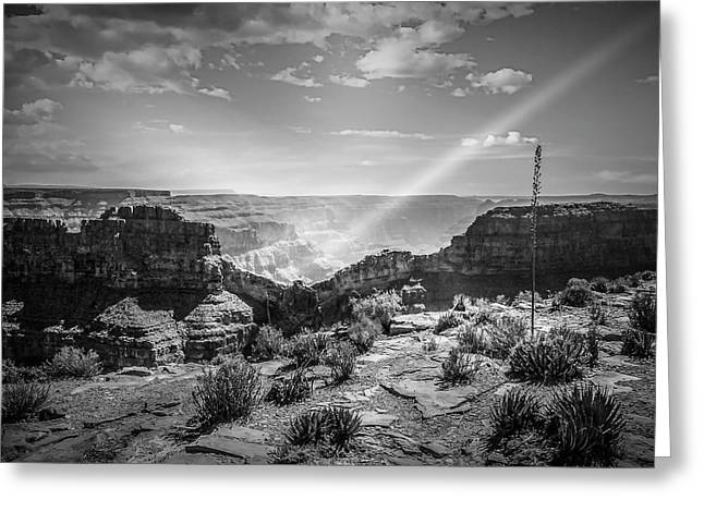 Eagle Rock, Grand Canyon In Black And White Greeting Card