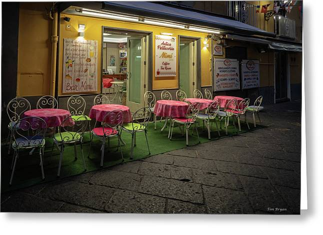Greeting Card featuring the photograph Early Morning, Bar Mimi, Sorrento, Italy  by Tim Bryan