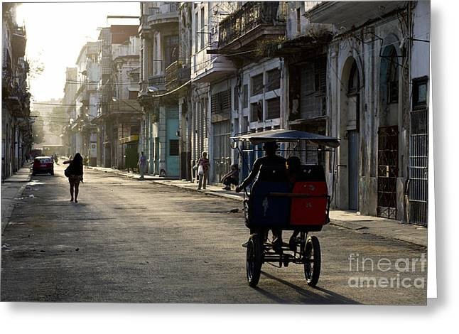 Early Morning In The Streets Of Old Greeting Card