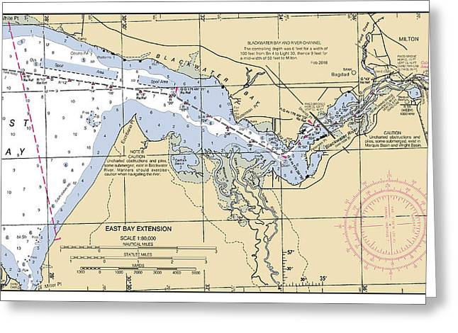 East Bay Extension Noaa Chart 11385_5 Greeting Card