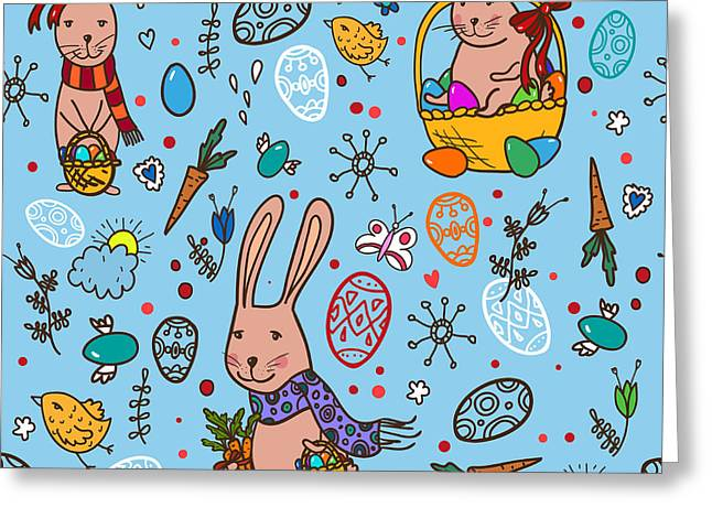 Easter Bunny Pattern Greeting Card