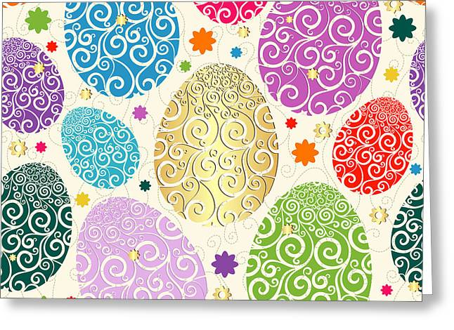 Easter Seamless Pattern With Colorful Greeting Card