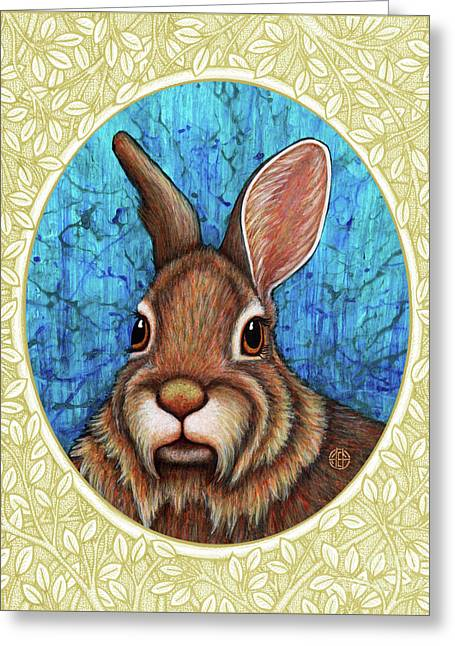 Eastern Cottontail Portrait - Cream Border Greeting Card