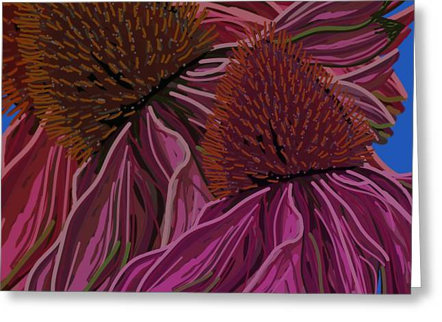 Echinacea Flower Blues Greeting Card