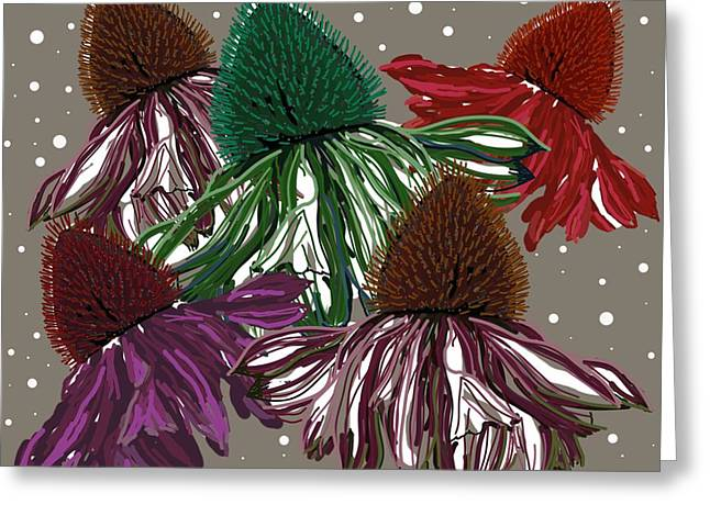 Echinacea Flowers Dance Greeting Card