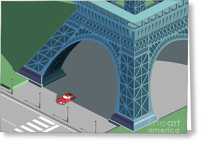 Eiffel Tower And Red Car Isometric Greeting Card