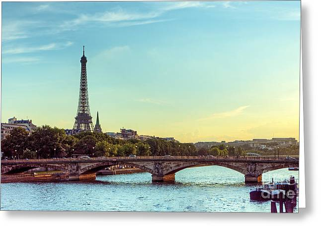 Eiffel Tower And Seine River Panoramic Greeting Card