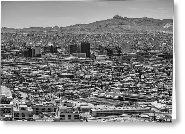 El Paso, Texas And Ciudad Juarez Skyline Black And White Greeting Card