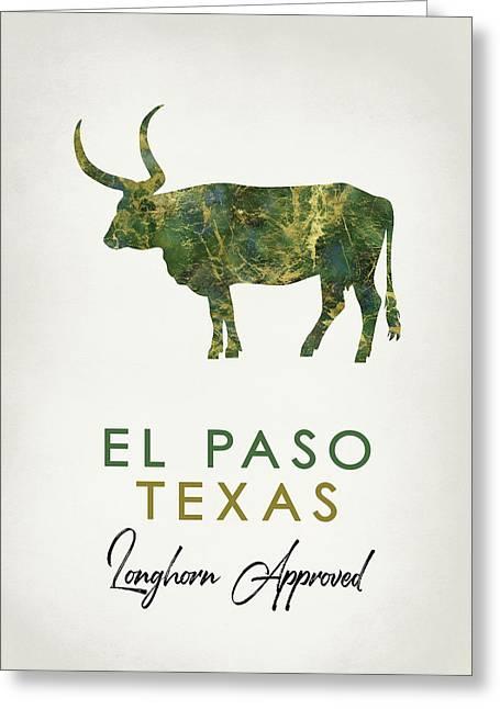El Paso Texas Dark Marble Greeting Card