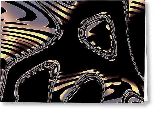 Elegant Black Fractal 2 Greeting Card