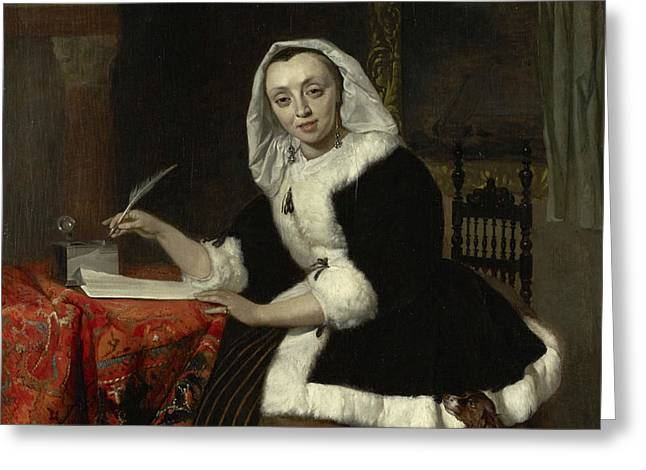 Elegant Lady Writing At Her Desk Greeting Card
