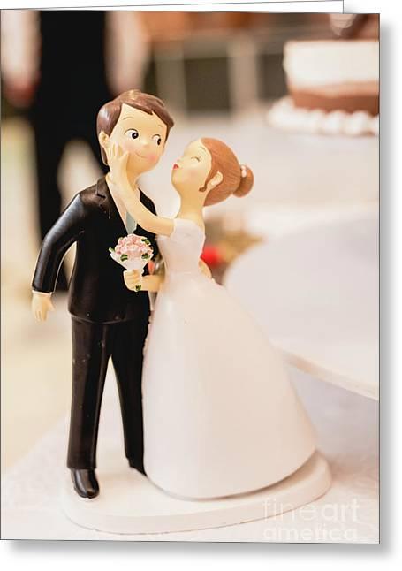 Elegant Wedding Cake Dolls Greeting Card