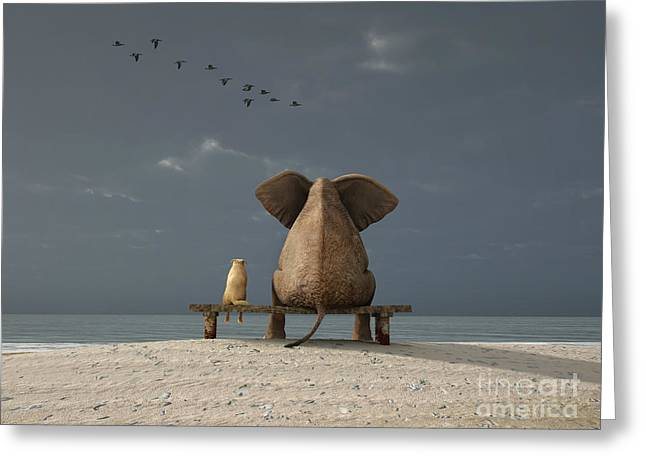 Elephant And Dog Sit On A Beach Greeting Card