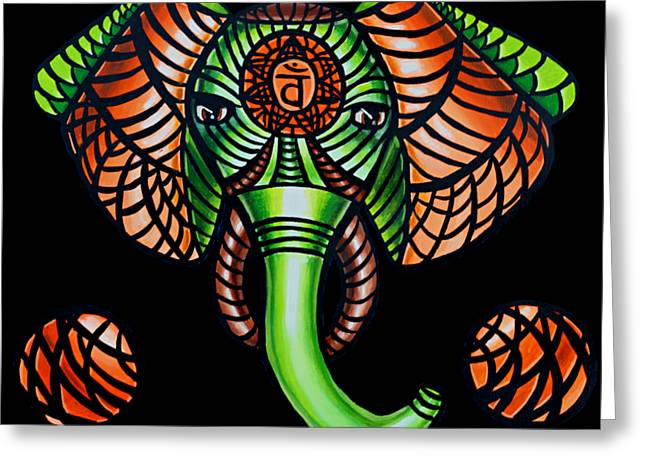 Zentangle Elephant Head Art Painting, Sacral Chakra Art, African Animal Tribal Artwork Greeting Card