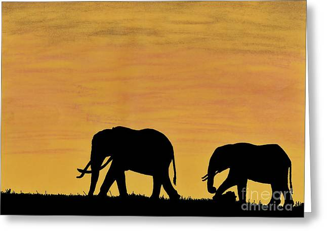 Elephants - At - Sunset Greeting Card