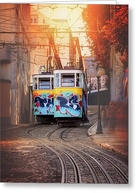 Elevador Da Gloria Lisbon Portugal  Greeting Card by Carol Japp