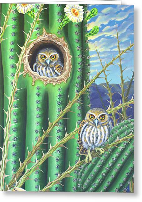 Elf Owls In The Saguaro Cactus Greeting Card