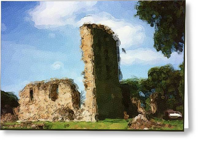 Elgin Cathedral Ruins Painting Greeting Card