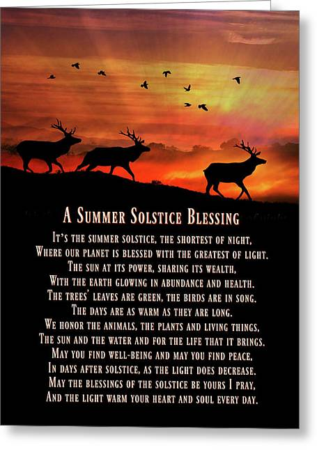 Elk And Sunset Summer Solstice Blessings  Greeting Card