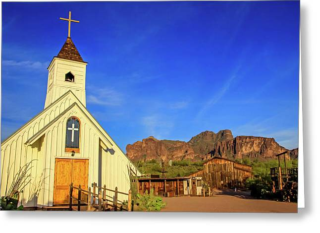 Elvis Chapel At Apacheland, Superstition Mountains Greeting Card