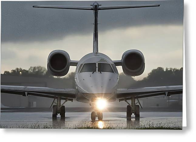 Greeting Card featuring the photograph Embraer 145 by Guy Whiteley