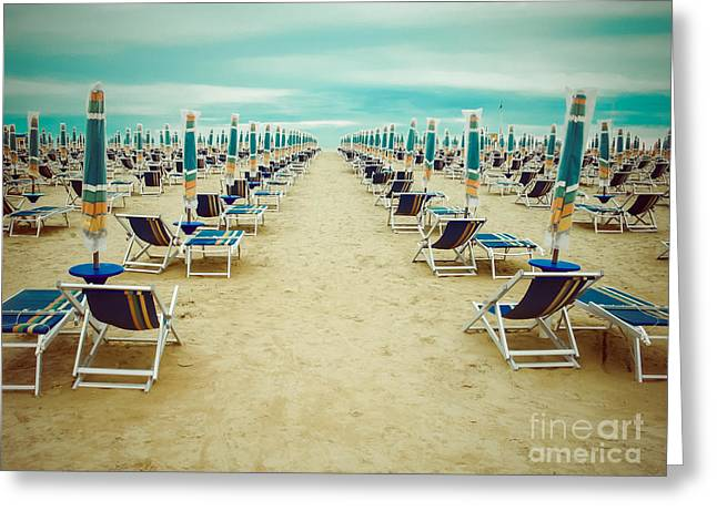 Empty Beach Scenery With Deckchairs And Greeting Card by Anastazzo