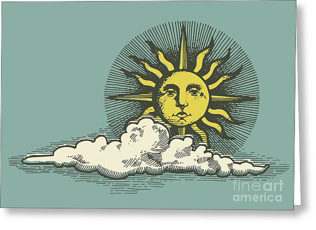 Engraved Sun And Clud In The Sky Vector Greeting Card