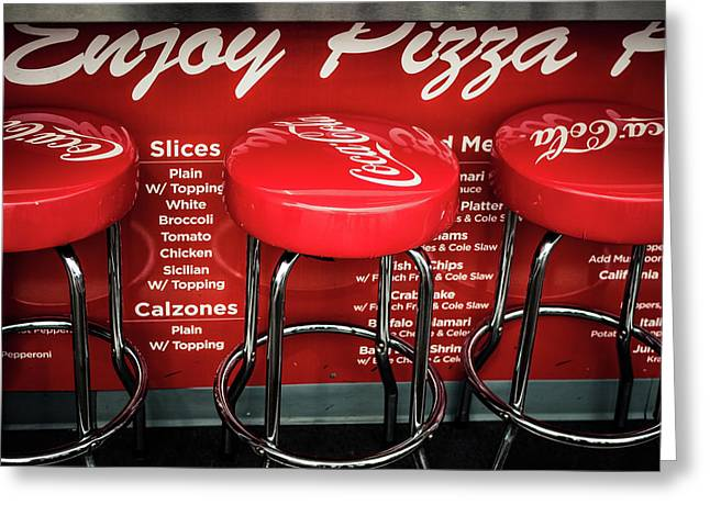Enjoy Pizza And A Coke Greeting Card