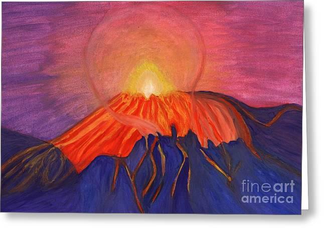Erupting Volcano Greeting Card