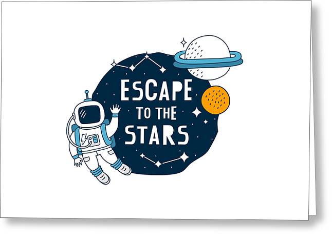 Escape To The Stars - Baby Room Nursery Art Poster Print Greeting Card