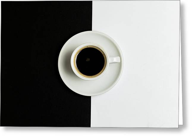 Greeting Card featuring the photograph Espresso Coffee On A White Pot by Michalakis Ppalis