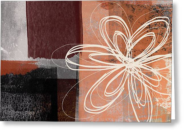 Greeting Card featuring the mixed media Espresso Flower 1-  Art By Linda Woods by Linda Woods