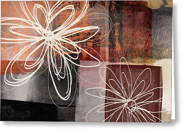 Greeting Card featuring the mixed media Espresso Flower 2- Art By Linda Woods by Linda Woods