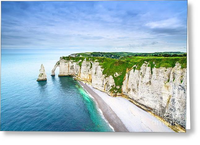 Etretat Aval Cliff, Rocks And Natural Greeting Card
