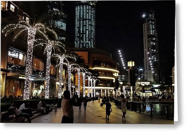 Evening At Dubai Maill, Dubai, United Arab Emirates Greeting Card