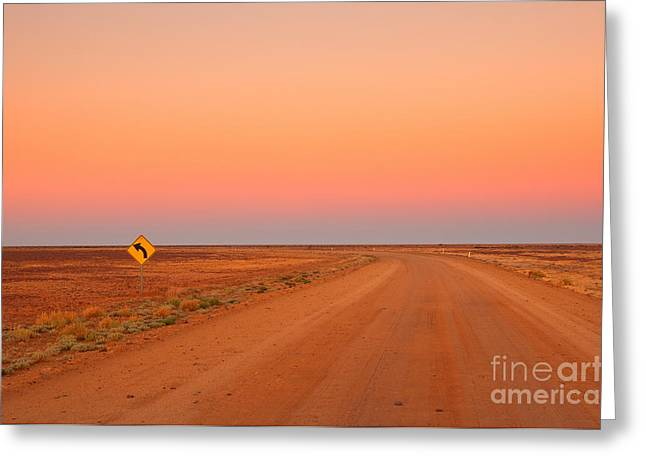 Evening In The Australian Outback, Dirt Greeting Card