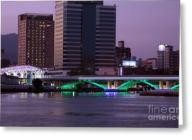 Greeting Card featuring the photograph Evening View Of The Love River And Illuminated Bridge by Yali Shi