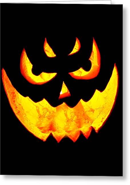 Evil Glowing Pumpkin Greeting Card