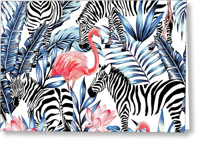 Exotic Pink Flamingo, Zebra On Greeting Card by Berry2046