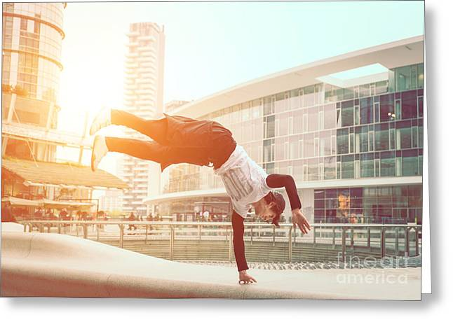Extreme Parkour In Business Center Greeting Card