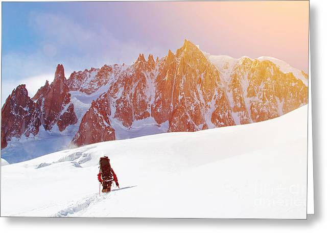 Extreme Sport. Lone Hikers In Winter Greeting Card