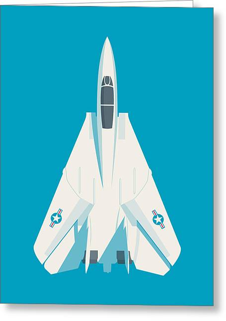 F14 Tomcat Fighter Jet Aircraft - Cyan Greeting Card