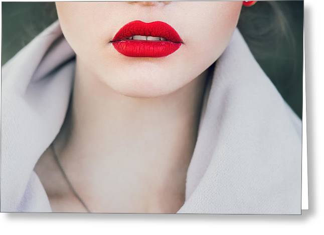 Face Of A Beautiful Girl With Red Lips Greeting Card