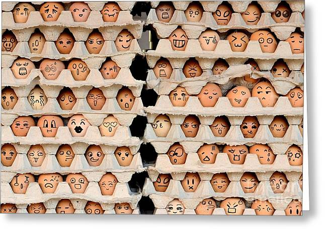 Faces On The Eggs. Differences Faces Greeting Card