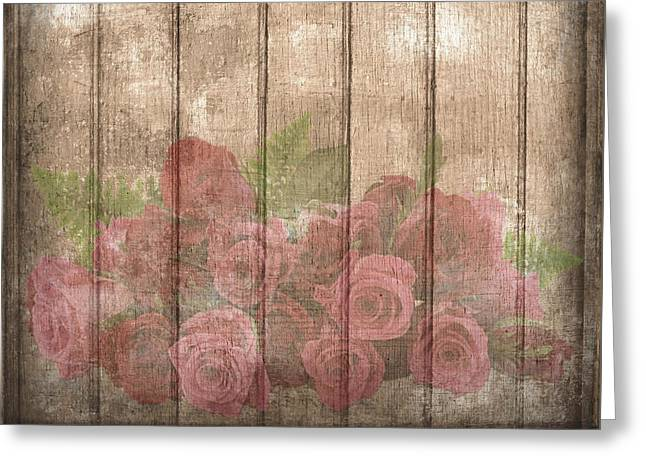 Faded Red Country Roses On Wood Greeting Card