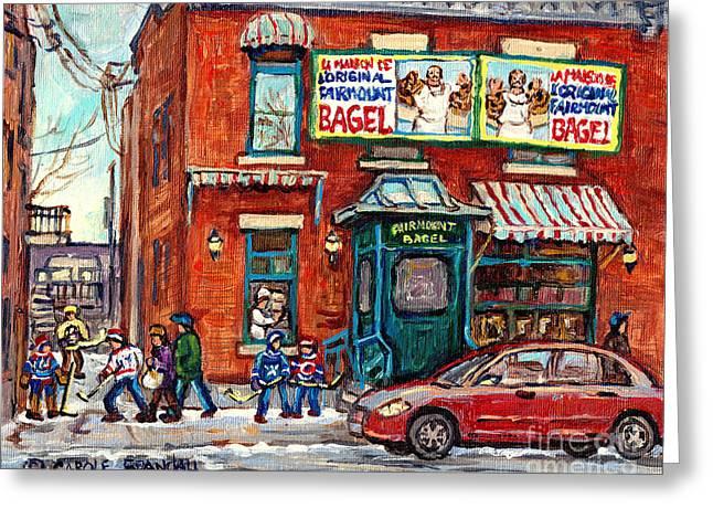 Fairmount Bagel Bakery Laneway Hockey Art Depanneur Winter Scenes C Spandau Montreal Landmark Stores Greeting Card