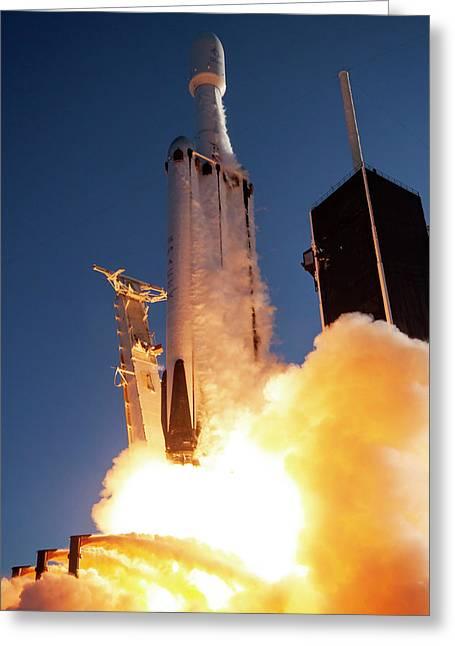 Falcon Heavy Arabsat Lift Off Greeting Card