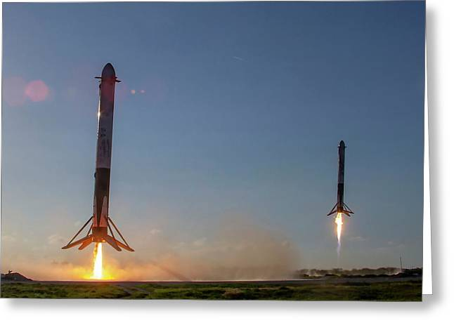 Falcon Heavy Boosters Landing Greeting Card